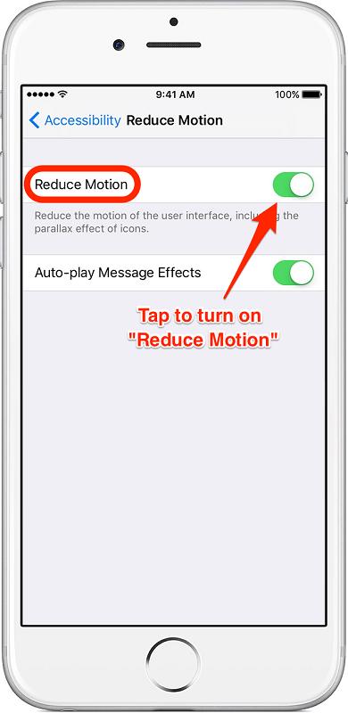 2. افکت های حرکتی صفحه نمایش گوشی آیفون را کاهش دهید.