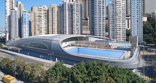 معماری استخر صدف شکل در شهر کندی هنگ کنگ از استودیو Farrells