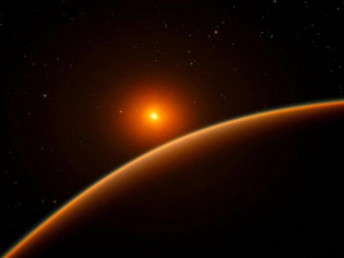 تصویر هنری که ستاره کوتوله LHS 1140 را از نمای سیاره ساکن در مدارش نشان می دهد. سیاره LHS 1140 که در مدار این کوتوله سرخ واقع است، تقریبا 39 سال نوری با زمین فاصله دارد