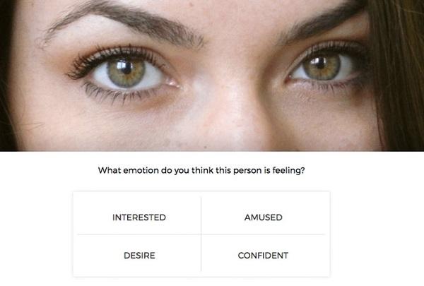 نمونه ای از نظرسنجی هایی که شرکت کنندگان مطالعه به آن پاسخ می دادند. فکر می کنید، این فرد چه احساسی دارد؟ خوشحال، مشتاق، کنجکاو و یا مطمئن