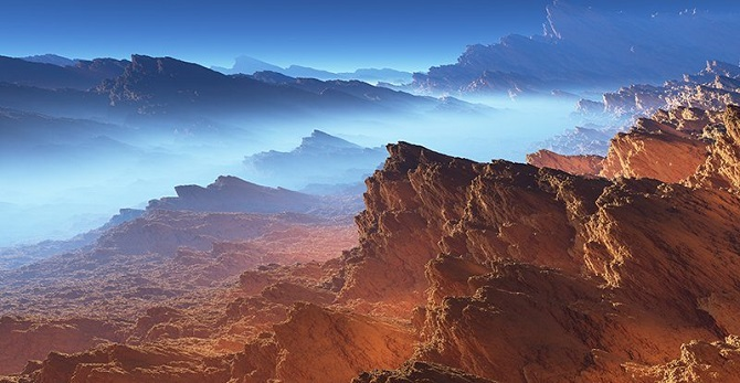 تصویر هنری از قمر تیتان، هنگامی کاسینی به تیتان رسید، خود را در برابر دنیایی دید که شباهت غریبی به دوران اولیه زمین داشت، یعنی زمانی که هنوز حیات در سیاره ما شکل نگرفته بود
