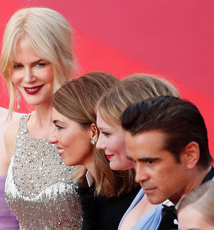 عوامل فیلم فریب خورده در فرش قرمز فیلم (از چپ): نیکول کیدمن، سوفیا کوپولا، کریستن دانستن و کولین فارل