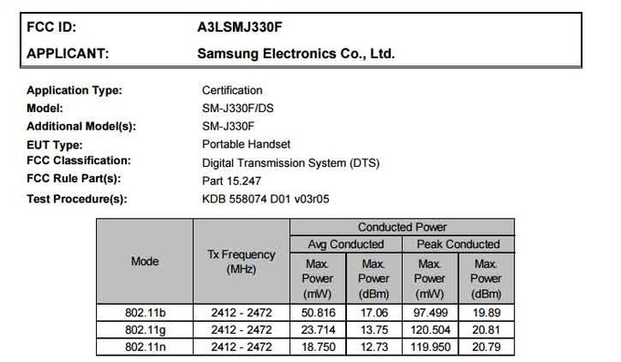 دو نسخه از گوشی گلکسی جی 3 مدل 2017 تاییدیه FCC را دریافت کردند: سامسونگ SM-J330F و سامسونگ SM-J330DS. این بدان معناست که مدل 2017 گلکسی جی 3 در دو مدل تک و دو سیمکارته ارائه خواهد شد.