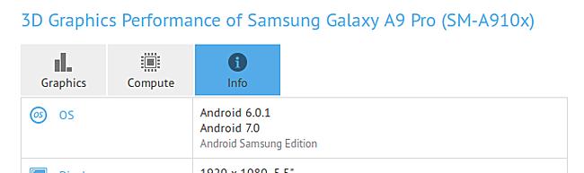 گوشی گلکسی A9 پرو در ماه می سال گذشته، همراه با اندروید 6.0.1 نوقا راه اندازی شد.