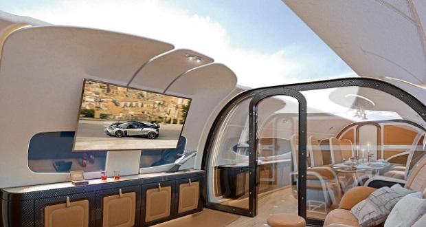 سقف این جت خصوصی ایرباس یک صفحه نمایش غول پیکر است!