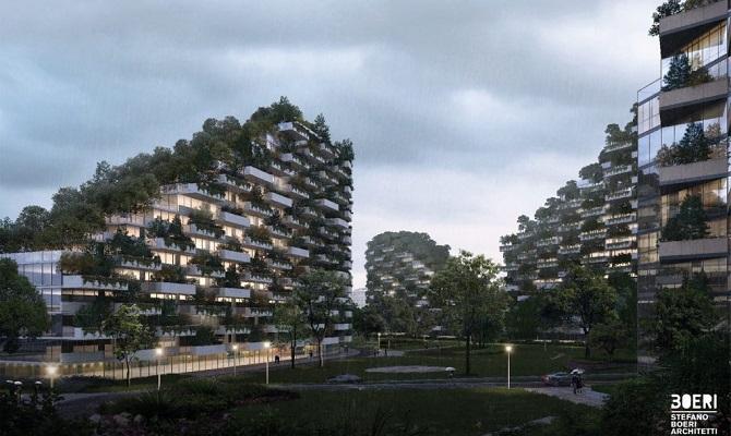 این ساختمانهای سبز به کاهش آلودگی هوای شهر کمک میکنند، اکسیژن تولید میکنند و همچنین تنوع زیستی منطقه را افزایش میدهند. پوشش گیاهی شهر جنگلی در روزهای آفتابی سایه ایجاد میکند و در زمستان همچون یک عایق عمل میکند و این امکان را فراهم میکند که ساکنان از گرما و برق کمتری استفاده کنند