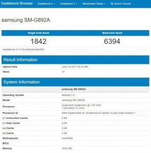 سامسونگ گلکسی اس 8 اکتیو که در گیک بنچ با شماره مدل SM-G892A دیده شده، احتمالا مجهز به تراشه کوالکام با سرعت کلاک 1.9 گیگاهرتز و 8 هسته پردازشی خواهد بود. هنوز نمی توان به صورت قطعی درباره مدل این تراشه نظری داد اما به نظر می رسد که این گوشی از تراشه اسنپدراگون 835 بهره خواهد بود.