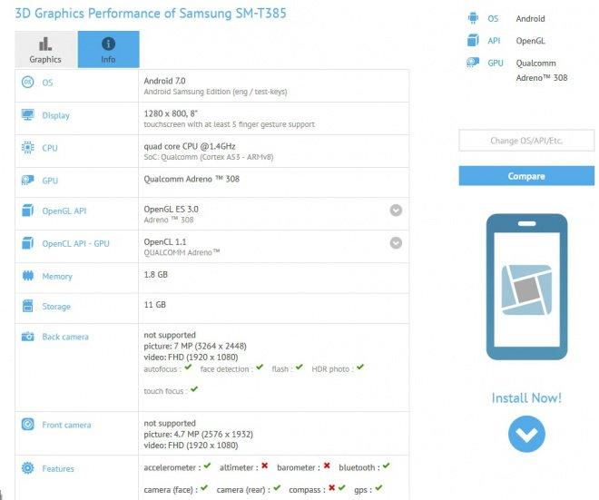 گلگسی تب ای 8.0 2017 در GFXBench دیده شده است