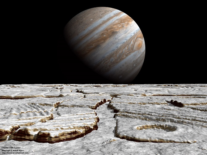 عکس هنری که سیاره غول گازی مشتری را از نمای قمر اروپا نشان میدهد. اقیانوس عظیم اروپا – که میزان آب آن دو برابر همه اقیانوسهای زمین است – با لایه یخی بسیار سرد و سخت و باضخامتی نامشخص محافظت میشود. تخمین زده میشود، ارتفاع بخار آبفشان در قمر اروپا تا حدود ۱۲۵ مایلی (۲۰۰ کیلومتر) از سطح این قمر بالا میرود