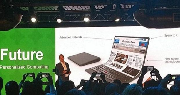 لنوو از کانسپت یک کامپیوتر شخصی قابل انعطاف رونمایی کرد.