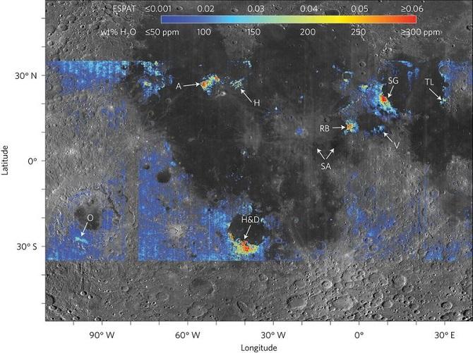 نقشه فوق نواحی که دارای ذخایر آب در سطح ماه هستند را نشان میدهد