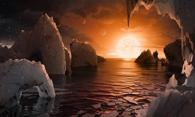 اگر در یکی از هفت سیاره منظومه تراپیست-۱ ایستاده باشید و به آسمان خیره شده باشید، به احتمال زیاد میتوانید، ابرها، حتی دهانهها، درهها و کوههای سیاره همسایه را ببینید. سیارات منظومه تراپیست-۱ خیلی به هم نزدیک هستند، بنابراین بهاحتمال زیاد اگر نوعی از حیات در این سیارات وجود داشته باشد، ممکن است، به طریقی همچون پرتاب سنگی به سیاره همسایه مهاجرت کرده باشد