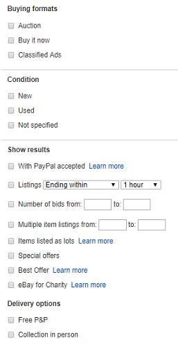 جستجوی پیشرفته eBay