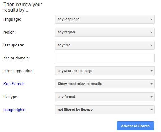 جستجوی پیشرفته گوگل