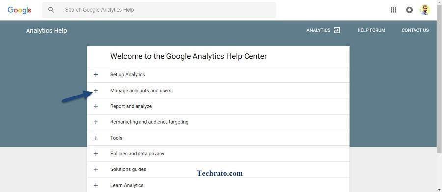 در این صفحه بخشهای مختلفی را مشاهده میکنید که باتوجه به مشکل به وجود آمده برای اکانت گوگل آنالیتیکس خود، باید به بخش مربوطه مراجعه کنید. در این مقاله به مشکل حذف ناگهانی اکانت گوگل آنالیتیکس میپردازیم بنابراین به سربرگ دوم یعنی Manage account and users مراجعه کنید.