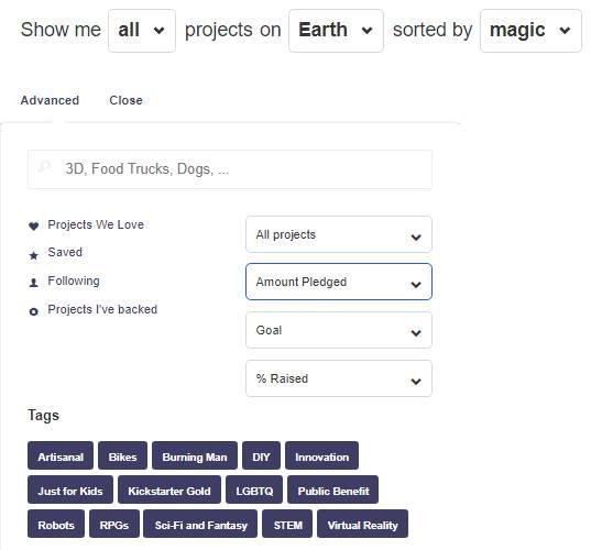 جستجوی پیشرفتهKickstarter