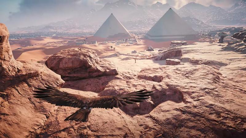 جدید بازی کیش یک آدمکش با پلتفرم جهان آزاد خود، زوایای مختلفی از تمدن مصر را به ما نشان می دهد. برخی از شهرهای بزرگ آن زمان نیز به خوبی طراحی شده اند؛ هر دو هرم گیزا و ممفیس را در تصویر مشاهده می کنید.