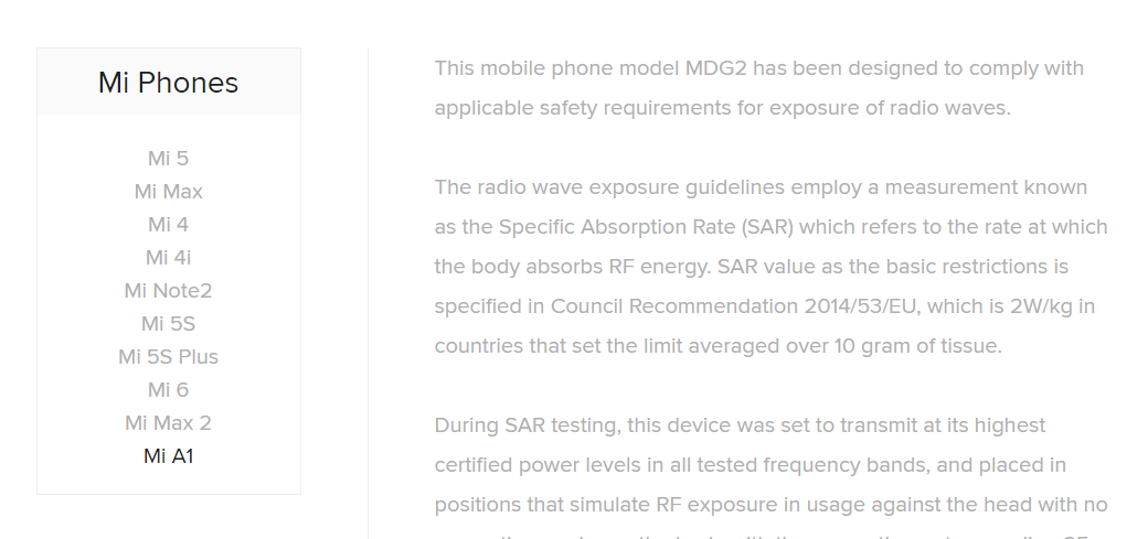 براساس تاییدیه شیائومی، شماره مدل MDG2 متعلق به گوشی شیائومی می ای 1 (Mi A1) است. این کمپانی به طور رسمی در صفحهای از وبسایت خود که توضیحات مربوط به قرارگرفتن در معرض فرکانسهای رادیویی گوشیهایش در آن قرار دارد، این موضوع را اعلام کرده که شماره مدل MDG2 متعلق به گوشی شیائومی می ای 1 است.