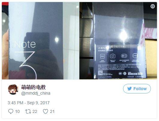 تصاویر جعبه شیائومی می نوت 3 توسط mmddj_china@ در توییتر منتشر شده است و در کنار آن برخی از مشخصات این دستگاه نیز ظاهر شد.
