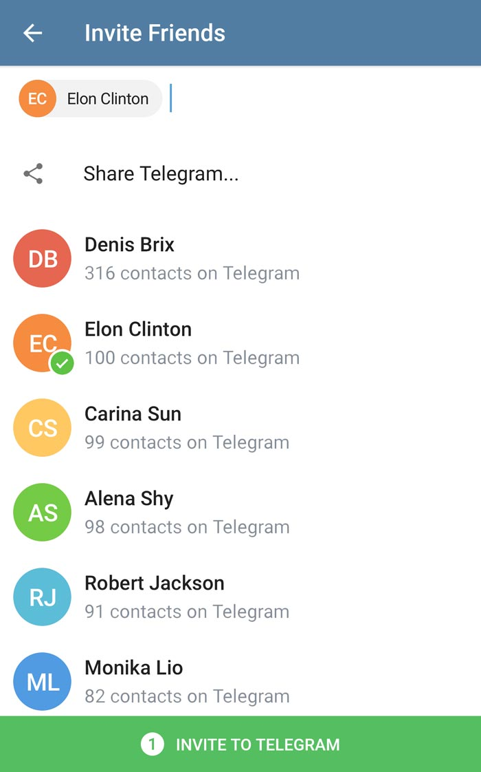دعوت از دوستان به تلگرام