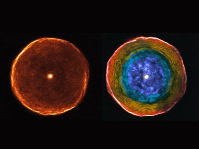 در این تصویر، ستاره قرمز کربنی U Antilae با حبابی از مواد احاطه شده است. نزدیک به 3000 سال قبل، این ستاره به صورت کاملا ناگهانی، بخش زیادی از جرم خود را منهدم کرده و طی چند صد سال، به این پوسته تبدیل شد. در تصویر سمت راست، پوسته آن در جزئیات بی سابقه ای دیده می شود. دانشمندان با جدا کردن رنگ های ستاره می توانند سرعت مواد در حال حرکت اطراف این ستاره را محاسبه کنند.