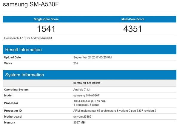 در اوایل ماه جاری میلادی دستگاهی از سامسونگ با شماره سریال SM-A530F در بنچمارک گیکبنچ رویت شد