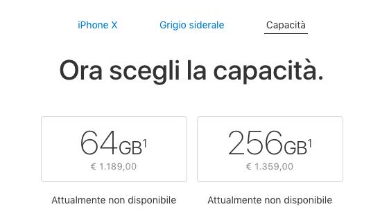 قیمت نسخه های مختلف آیفون X در ایتالیا