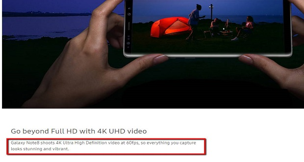 تصویر تبلیغاتی رویت شده از امکان فیلمبرداری 4K با سرعت 60 فریم بر ثانیه در گلکسی نوت 8
