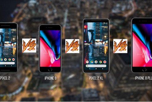 مقایسه پیکسل ۲ و پیکسل ۲ ایکس ال با آیفون ۸ و ۸ پلاس: غولهای گوگل در برابر اپل!