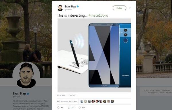 اوان بلاس معروف با اکانت توییتری evleaks@ ساعاتی پیش، پستی را در توییتر به اشتراک گذاشت که ویژگی جذابی در آن دیده میشود. در این پست تصویری از رندر هواوی میت 10 پرو قرار دارد که در کنار آن یک قلم هوشمند خودی نشان دهده است.