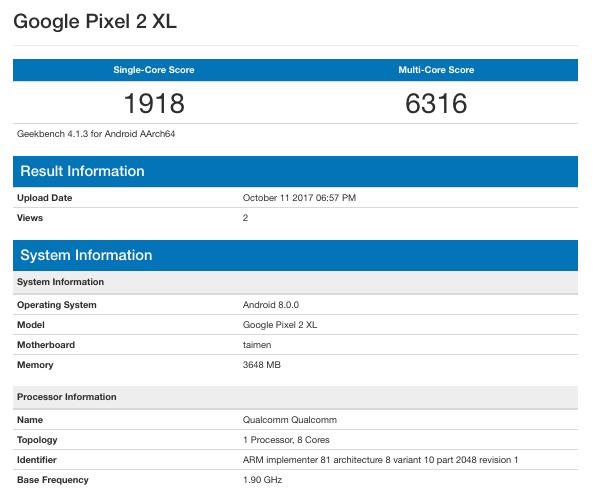 بنچمارک گوگل پیکسل 2 ایکس ال در گیک بنچ