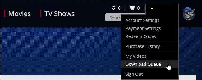 """برای مشاهدهی صف دانلود، بر روی نام حسابتان واقع در گوشهی بالا سمت راست کلیک کرده و """"Download Queue"""" را انتخاب کنید."""
