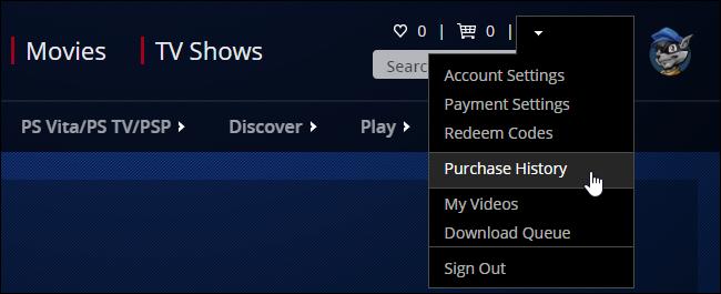 """برای دانلود بازیای که پیشتر خریداری کرده یا مجانی دریافت کردهاید، بر روی نام حسابتان در گوشهی بالا سمت راست صفحه کلیک کرده و """"Purchase History"""" را انتخاب کنید."""