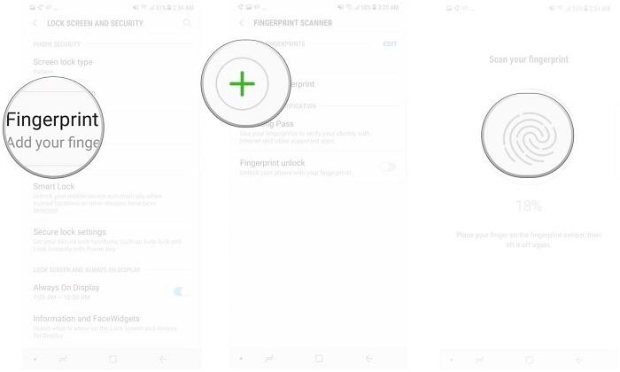 3. Fingerprint scanner را انتخاب کنید.  4. روی علامت مثبت سبز رنگ ضربه بزنید تا بتوانید اثرانگشت دوم را ثبت کنید.  5. از دستورالعمل پیروی کرده و اثرانگشت را ذخیره کنید.