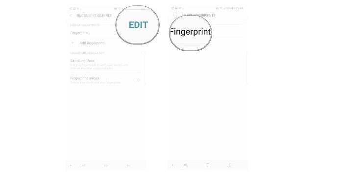 4. گزینه Edit را انتخاب کنید.  5. روی choose the fingerprint کلیک کنید تا بتوانید اثرانگشتی که می خواهید را حذف کنید.