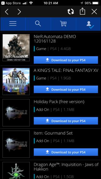 """بازی مورد نظر را از لیست بازیهایی که به آنها دسترسی دارید انتخاب کرده و گزینهی """"Download to Your PS4"""" را فشار دهید. کنسول شما آن را به صورت خودکار دانلود خواهد کرد."""