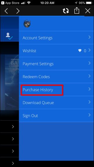 """برای دانلود بازیای که قبلاً خریداری کرده یا به صورت مجانی دریافت کردهاید، آیکان حسابتان که در گوشهی بالا سمت راست صفحه قرار دارد را لمس کنید. از منویی که ظاهر میشود گزینهی """"Purchase History"""" را انتخاب کنید."""