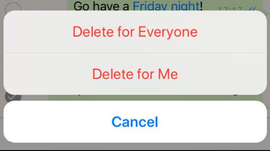 پاک کردن پیام فرستاده شده در واتس اپ
