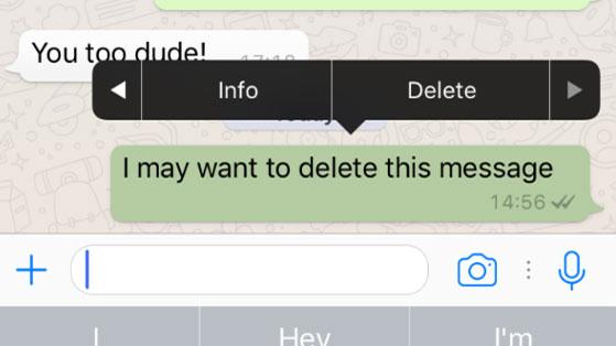 حذف پیام واتس اپ