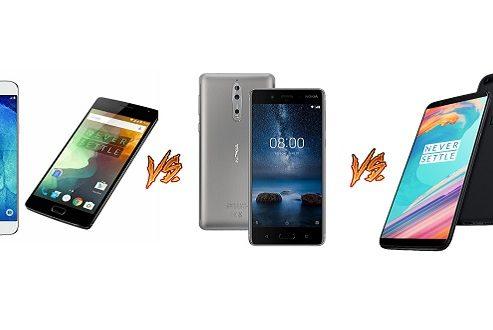 کدام گوشی ارزش خرید بیشتری دارد؟ گلکسی ای ۸ (۸ پلاس)، نوکیا ۸ یا وان پلاس ۵T