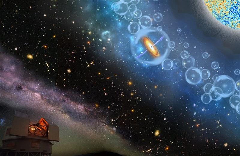 طرحی هنری از دورترین ابرسیاهچالهای که تا کنون کشف شده است. این سیاهچاله که بخشی از یک کوازار بوده ، ۶۹۰ میلیون سال پس از بیگ بنگ تشکیل شده، همچنین بوسیلهی هیدورژنهای خنثی احاطه شده است. این موضوع نشان دهنده آن است که این سیاهچاله به دوران اولیه تشکیل کائنات و به طور مشخص به دوره یونیزاسیون مجدد (epoch of reionization) تعلق دارد. دراین دوره نخستین منابع پرتو نور فعال شدند.