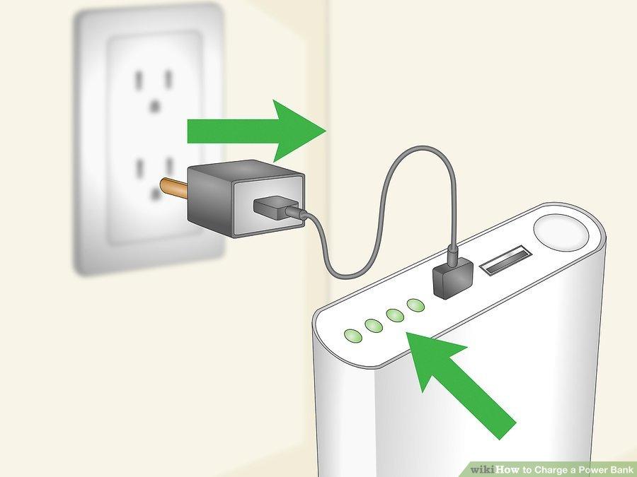 2. زمانی که شارژ پاور بانک کاملا پر شد آن را از شارژر جدا کنید. به طور مرتب شارژر را در هنگام اتصال چک کنید. زمانی که تمام چراغهای LED روی پاور بانک روشن شد، شارژر را جدا کنید.