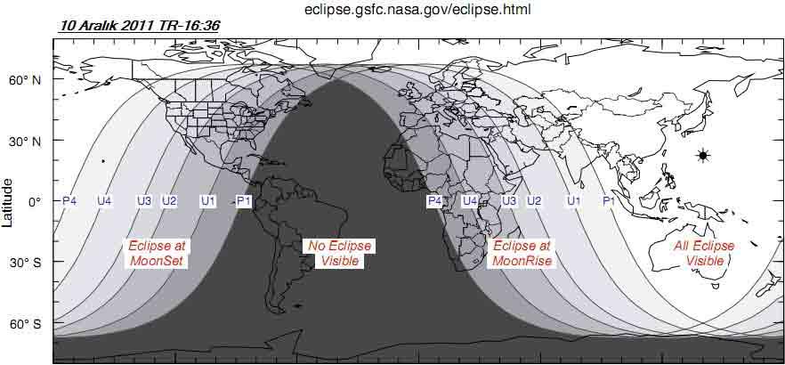 در این جدول ناسا، نواحی که این پدیدهها قابل مشاهدهاند و همچنین زمان وقوع آنها را میتوانید مشاهده کنید