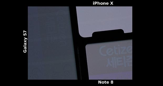 سوختن صفحه نمایش آیفون X و مقایسه آن با نمایشگر گلکسی اس 7 و گلکسی نوت 8