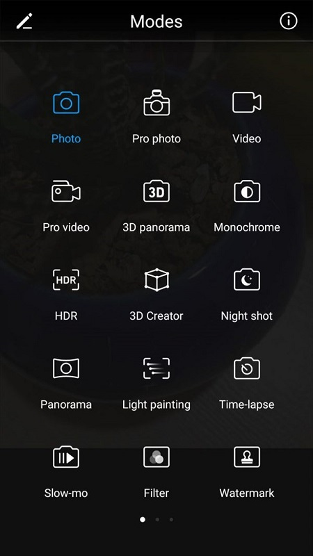 حالت عکاسی حرفهای (Pro Photo)، فیلمبرداری حرفهای، پانوراما سه بعدی، تک رنگ، HDR، ساخت تصاویر سه بعدی، حالت شب، نقاشی با نور، تایم لپس، اسلوموشن، فیلترها و واترمارک در این بخش دیده میشود.