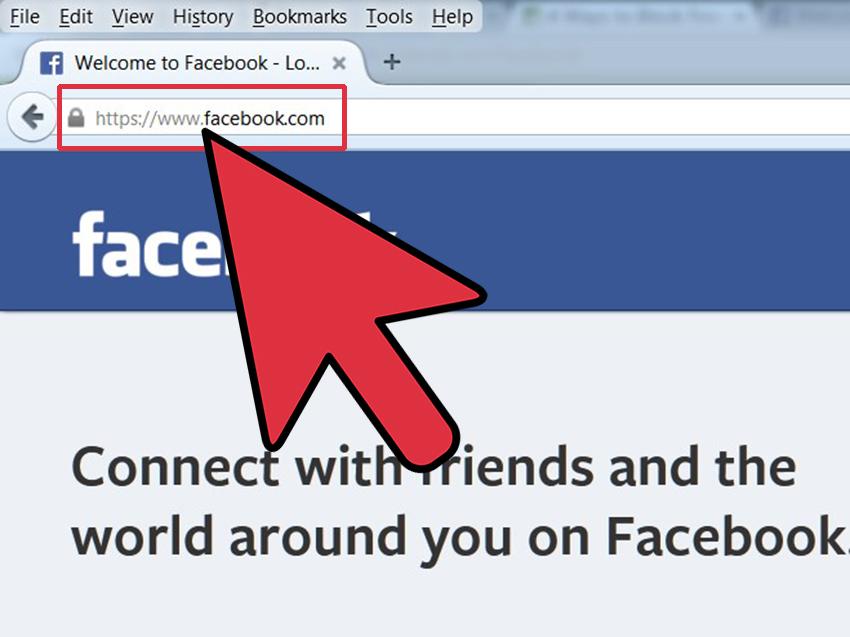 ۲. آدرس www.facebook.com را وارد کنید و وارد صفحهی اصلی فیس بوک شوید.
