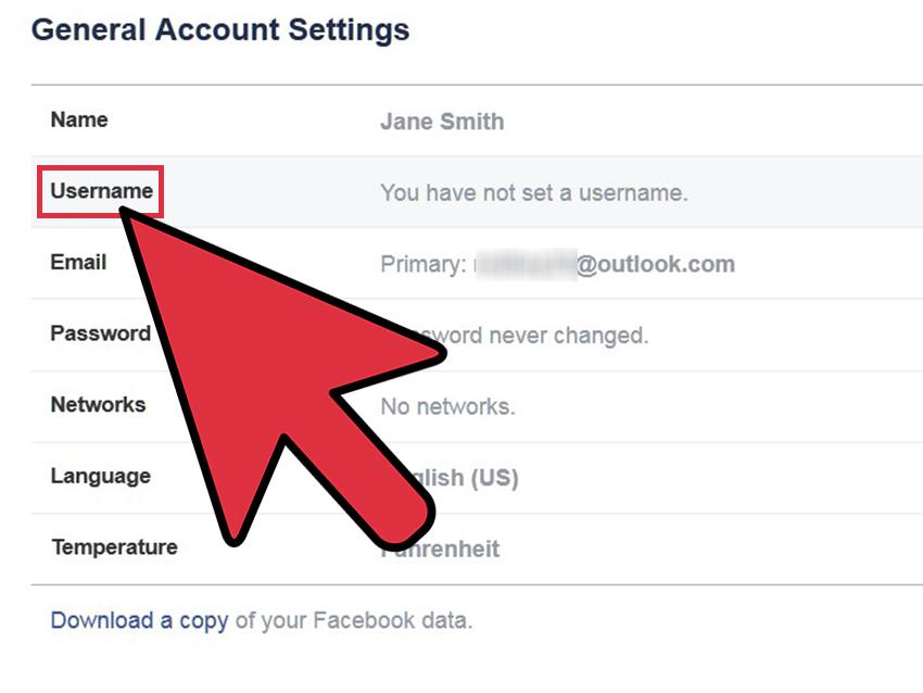 ۵. در صفحهی تنظیمات، قسمت Username را پیدا کنید. سمت راست ردیف Username، لینک Edit را پیدا کنید.