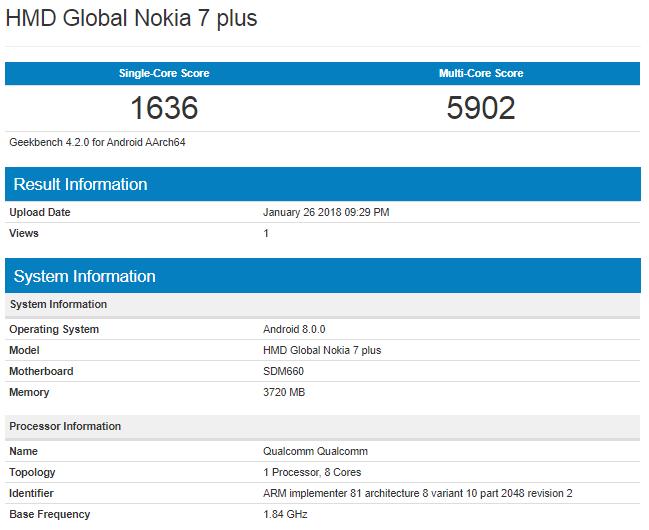در ادامه مشخصات بیشتری از گوشی جدیدنوکیا 7 پلاس (Nokia 7 Plus) را میبینیم.