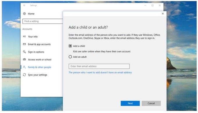 ساختن یک اکانت کودک (Child) در ویندوز
