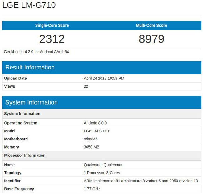 فهرست مشخصات جدیدترین پرچمدار ال جی، یعنی جی 7 تینکیو (LG G7 ThinQ) در بنچمارک گیکبنچ فاش شد.